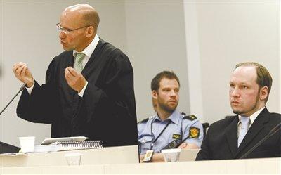 挪威致77死枪击案终审 凶犯要求无罪释放(图)
