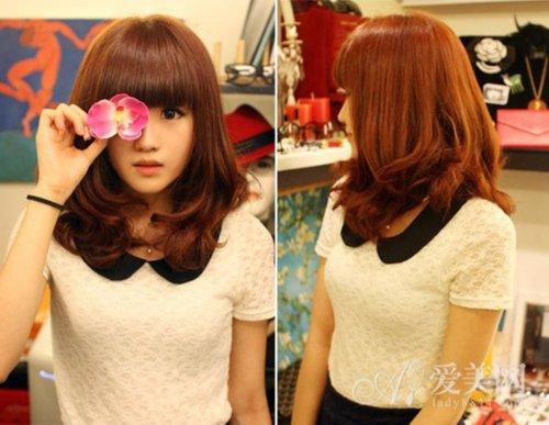 韩式齐刘海发型 时尚烫染魅力升级【图】图片