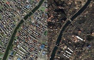 日本部分地区震前和震后卫星照片对比