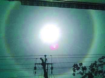 河南信阳出现日晕 彩虹圈绕太阳