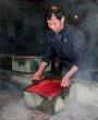 打工仔将混合好的猪血倒入特制的方形盆中进行半凝固