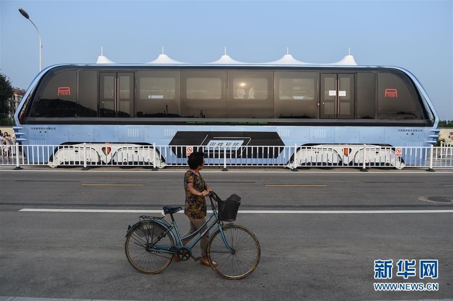 """空中巴士""""巴铁试验车路面测试 可载客300人 - 海阔山遥 - ."""