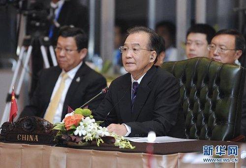 11月18日,国务院总理温家宝在印尼巴厘岛出席第十四次中国与东盟领导人会议并发表讲话。 新华社记者 谢环驰摄