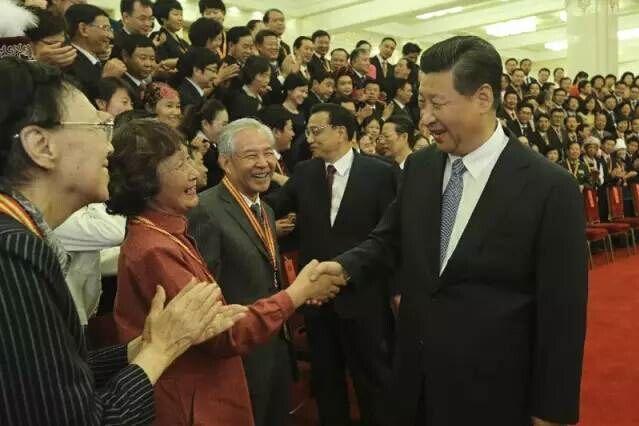 2014年9月9日,党和国家领导人习近平等在北京人民大会堂会见先进图片