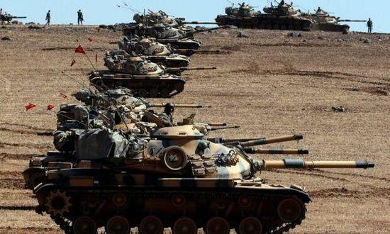土耳其坦克开进叙利亚清剿ISIS武装 叙反对派武装配合作战