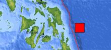 菲律宾东部海域地震震中示意图