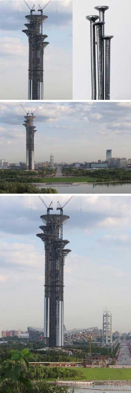 北京奥林匹克公园新瞭望塔被指像5根钉子(图)