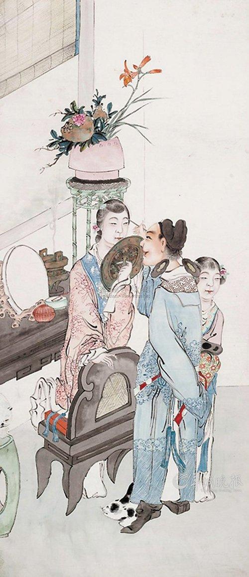 古代美女手绘图抚琴