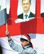 一名儿童在支持政府的集会中挥舞旗帜