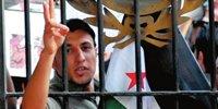 一些叙利亚人在阿盟总部外举行反对阿萨德的抗议