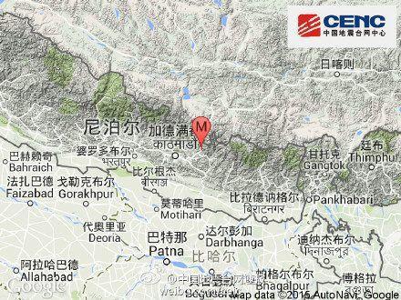 尼泊尔再发生7.1级地震 震源深度10千米