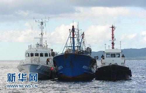 日本拖中国渔船出海 模拟海上作业检查(组图)