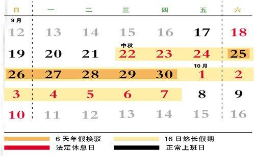"""9月18日~10月15日被分割为8个部分 中间只要休6天年假即可""""自制""""16日长假"""