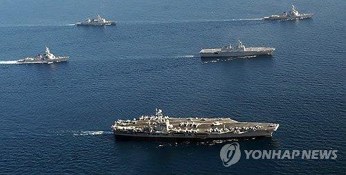 美韩军演进第3天 进行可疑船只拦截演练(图)