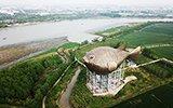 航拍江苏巨型河豚塔