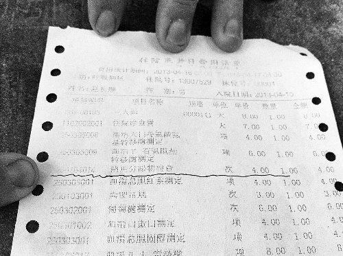 八旬老翁患支气管炎住院 费用单上现妇科检查费