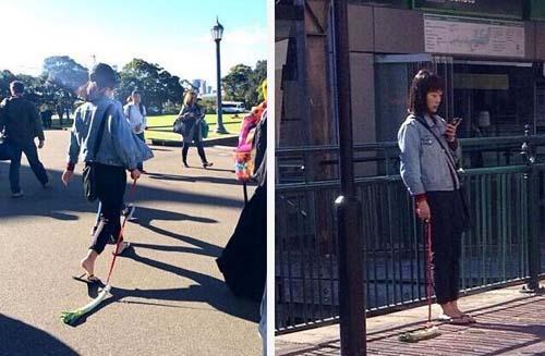 """神秘亚裔美女悉尼街头遛葱被指""""行为艺术""""(图)"""