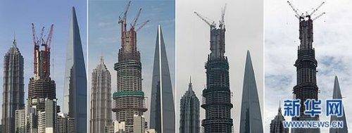 不断突破新的高度(从左至右分别摄于2012年5月27日,2012年11月28日,2013年3月13日,2013年8月3日)。 新华社记者 裴鑫摄