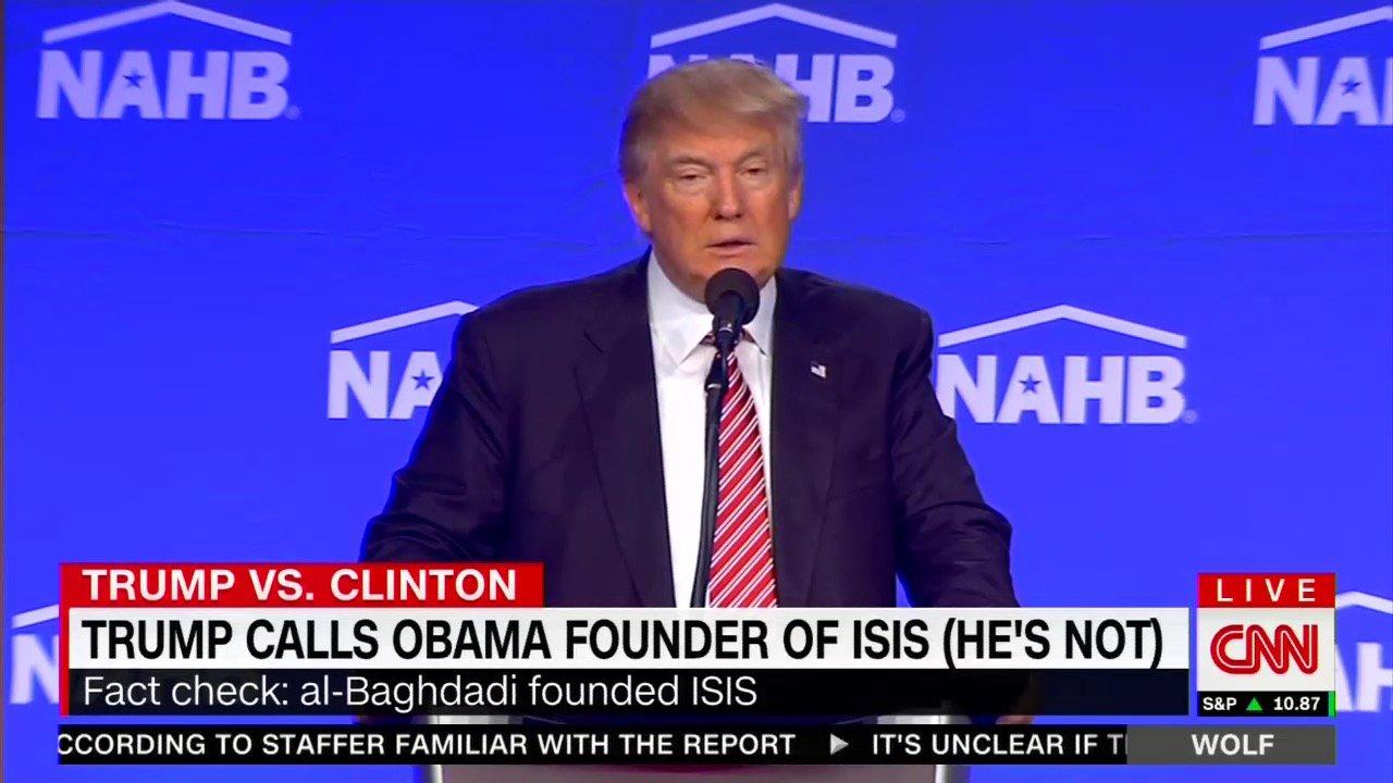 2016年8月10日,美国佛罗里达州竞选集会上,特朗普攻击奥巴马是ISIS的创建者。经过事实核查,这个指控是错误的。