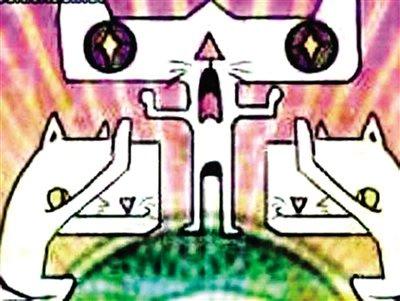 网友称跪拜猫原形为漆瑟纹饰 现存荆州博物馆