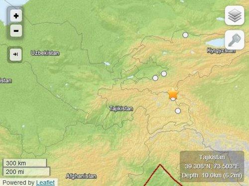塔吉克斯坦发生5级地震 震源深度10公里(图)