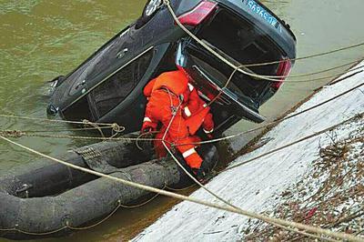 轿车疑因积雪路滑坠入水渠 女司机不幸溺亡(图)