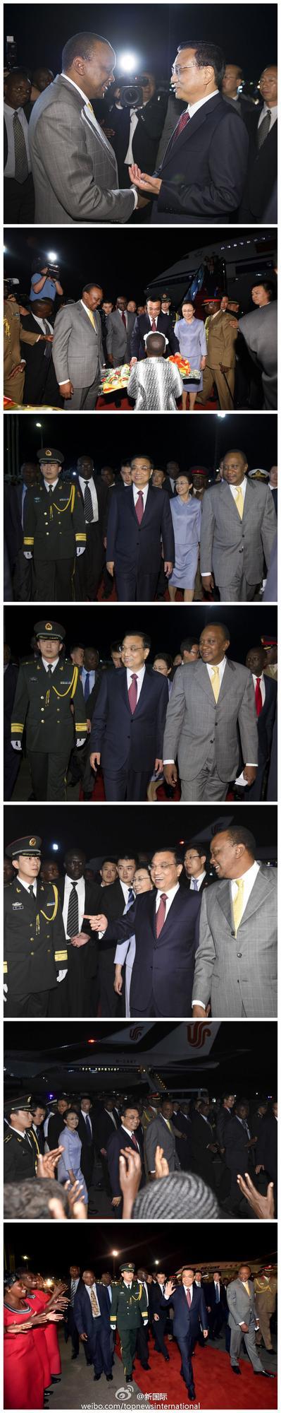 肯尼亚总统和副总统亲赴机场迎接李克强到访