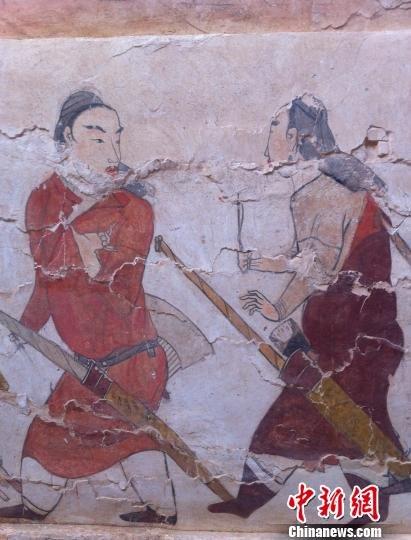 山西发现中国现存最大墓葬狩猎壁画(图)