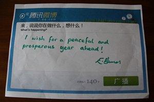 外交官艾玛微心愿:和平繁荣