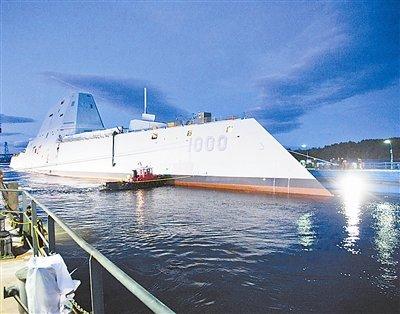 """美国""""科幻战舰""""下水:造价35亿美元 装电磁炮"""