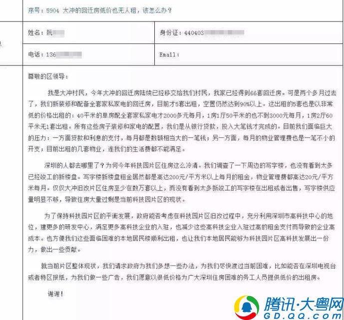 深圳村民自称分到66套房 租不出去发愁