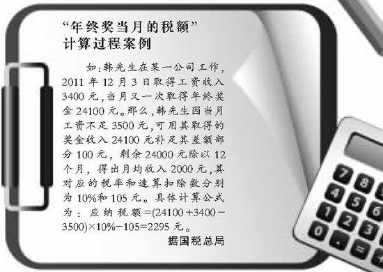 国税总局刊文解读新税法 举例讲年终奖计算过