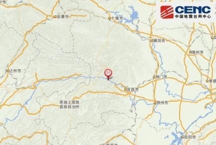 湖北秭归县发生4.7级地震 震源深度5千米
