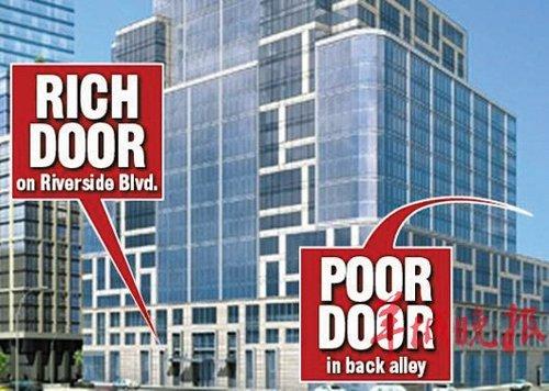 纽约一公寓计划为富人与穷人分别设出入口图