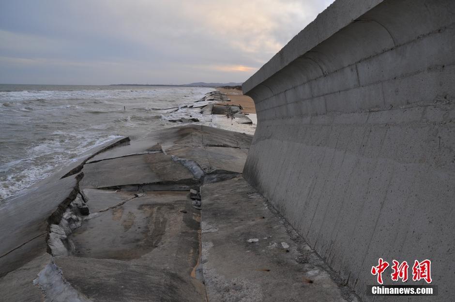 山东日照沿海防潮堤垮塌 数百米竟无一根钢筋 - 暮色苍茫 - 赵破奴