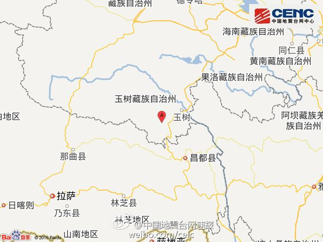 青海玉树州发生4.8级地震 震源深度5千米