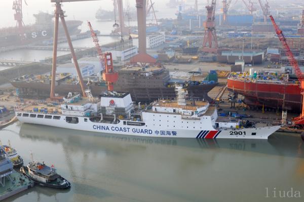 中国万吨海警船下水并完成涂装 排水量世界第一