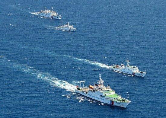 中国海警舰船编队5月28日在钓鱼岛领海内巡航