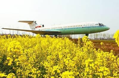 """4月5日,安徽省肥东县,曾经的周恩来总理的专机——中国空军""""50050""""号三叉戟客机停放在田野中。"""