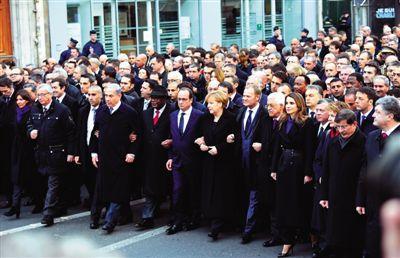 11日,法国总统奥朗德、德国总理默克尔等40余位国际政要参加巴黎反恐大游行。