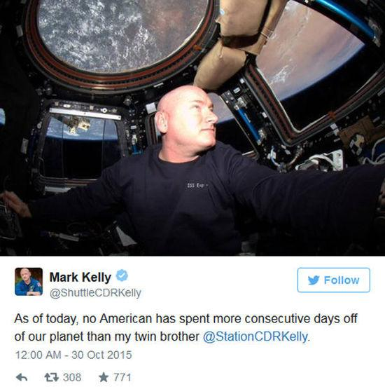 NASA一宇航员太空生活一年 长高5厘米(图)