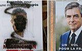 法国总统选举将举行 多名候选人竞选海报遭涂鸦