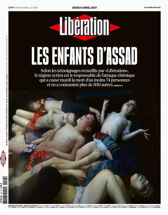 """法国《解放报》(Libération)3月6日头条。它的标题是:""""阿萨德的孩子。"""""""