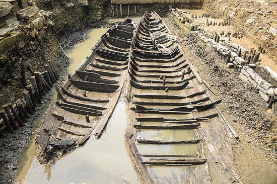 广州挖出清代古船遗址
