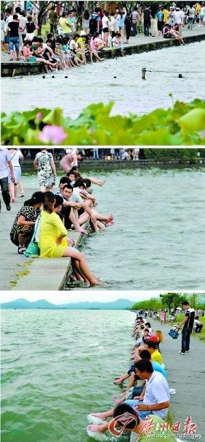 西湖洗脚。网络图片