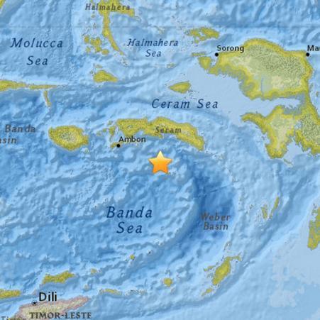 印尼东部海域发生6.9级地震暂无海啸预警(图)