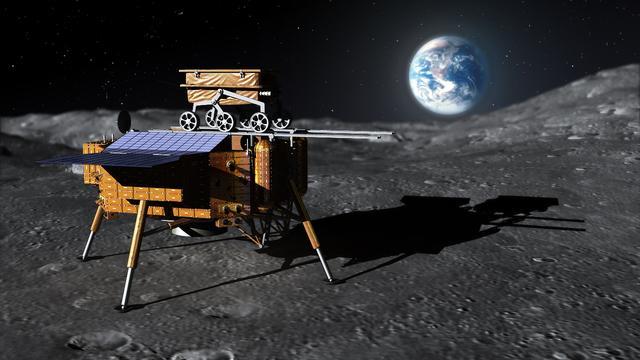 """资料图:图为""""嫦娥""""三号月球车与""""嫦娥""""三号着陆器(制作图)-"""