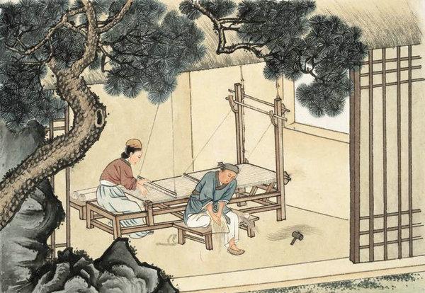 资料图:东汉纺轮机示意图。
