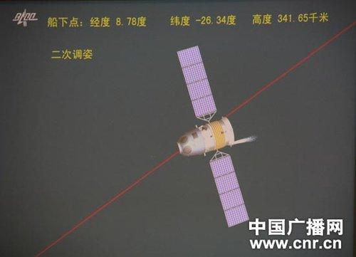 11月17日18时44分,飞船开始第一次调姿。飞控中心宣布,第一次调姿到位,第二次调姿到位,返回制动开始。(中广网记者刘梦 摄)