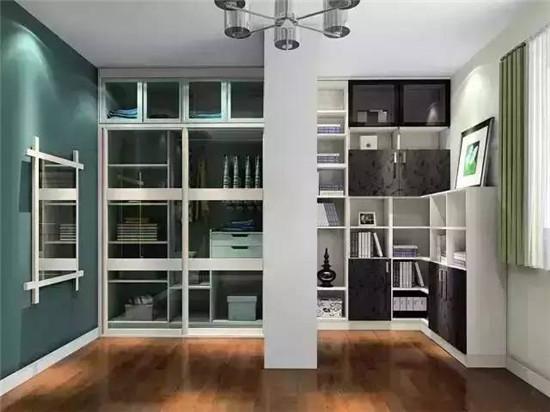 衣柜和书柜靠着一根中间的大柱子连接,两边互不影响,视觉效果更分明.图片